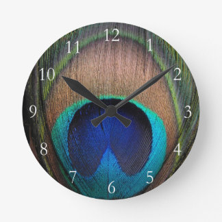 Copper/Teal/Blue Peacock Feather Wall Clock