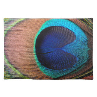 Copper/Teal/Blue Peacock Feather Cloth Placemat