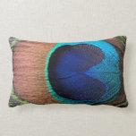 Copper/Teal/Blue Peacock Feather Lumbar Pillow