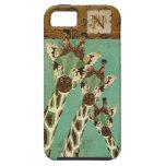 Copper & Teal Giraffes Damask Monogram iPhone Case iPhone 5 Cases