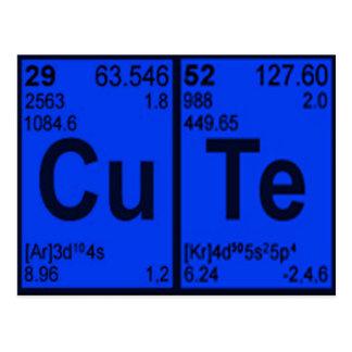 """Copper Tellurium """"CuTe"""" Blue Mens Geek Nerdy Postcard"""