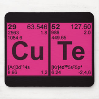 "Copper Tellurium ""CuTe"" Hot Pink Girls Geek Nerdy Mouse Pad"
