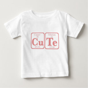 Cute periodic table t shirts shirt designs zazzle copper tellurium cute pink baby t shirt urtaz Image collections