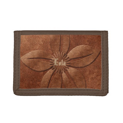 Copper Textured Vintage Floral Add Name Custom Trifold Wallet