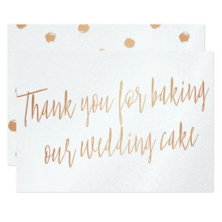 "Copper ""Thank you for baking our wedding cake"" Card"