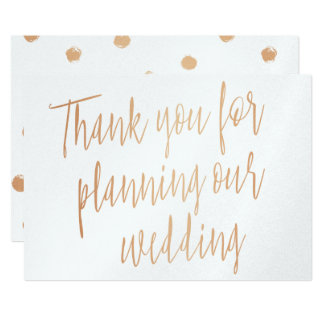 "Copper ""Thank you for planning our wedding"" Card"