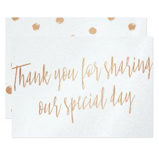 "Copper ""Thank you for sharing our special day"" Card"
