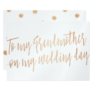 """Copper """"To my grandmother on my wedding day"""" Card"""