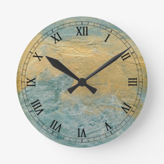 Copper Turquoise Faux Finish Round Clock