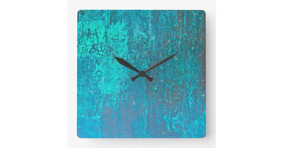 copper verdigris teal abstract modern art design square