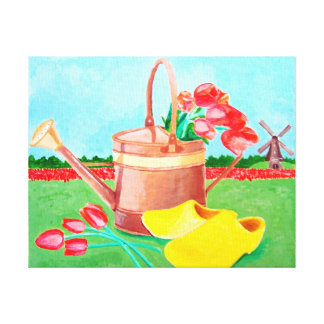 Copper Watering Can and Tulips Canvas Print