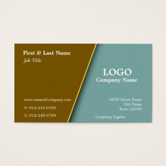 Copper with Teal Cross Hatch Business Card Design