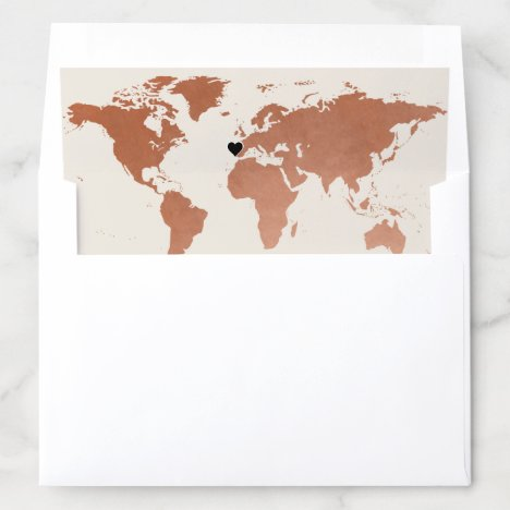 Copper World Map With Changeable Heart Location Envelope Liner