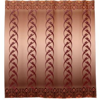Coppertone Oriental Floral  Design Shower Curtain