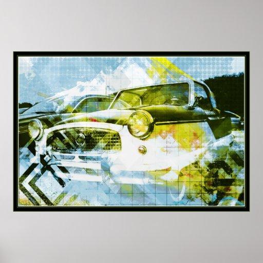 Coppol Car - cyan yellow Poster