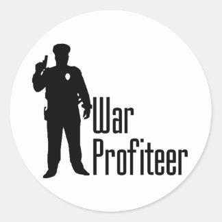 Cops are war profiteers classic round sticker