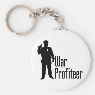 Cops are war profiteers basic round button keychain