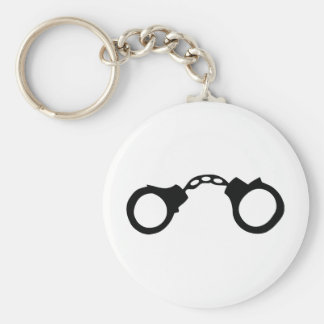 cops handcuffs basic round button keychain