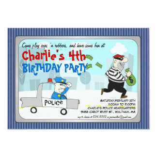 Cops n Robbers Cartoon Party Invitation