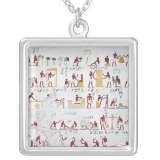 Copy of a relief from the Tomb of Iby Square Pendant Necklace