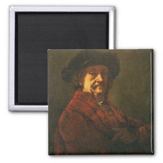 Copy of a Rembrandt Self Portrait, 1869 2 Inch Square Magnet