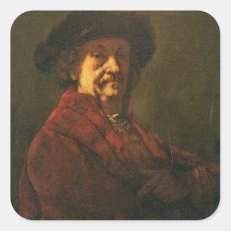 Copy of a Rembrandt Self Portrait, 1869 Square Sticker