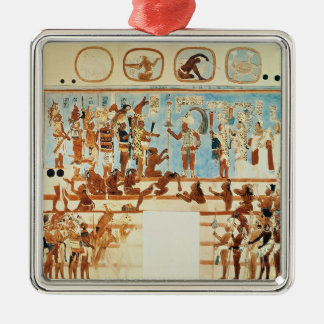 Copy of a wall painting from Bonampak Square Metal Christmas Ornament