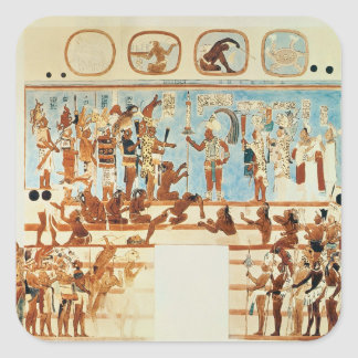 Copy of a wall painting from Bonampak Square Sticker