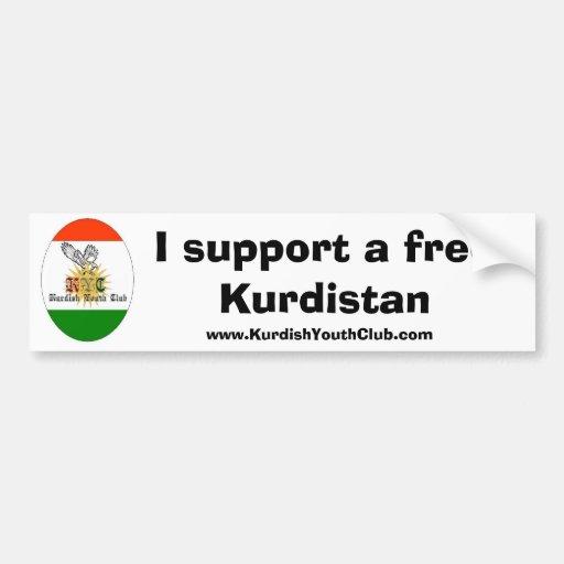 Copy of kycflagg, I support a free Kurdistan, w... Bumper Stickers