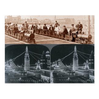 Copy of Old Coney Island Trains & Luna Park Images Postcard