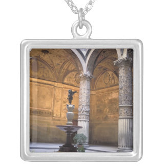Copy of Putto with Dolphin by Andrea del Square Pendant Necklace