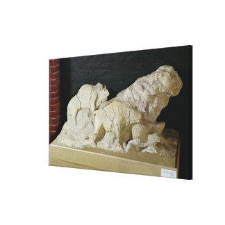 Copy of sculpture of bisons, Le Canvas Print