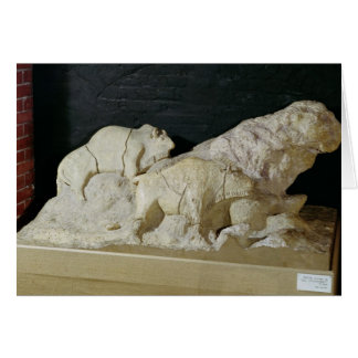 Copy of sculpture of bisons, Le Card