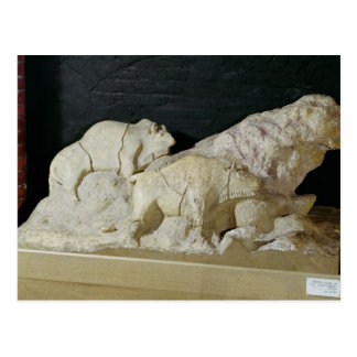 Copy of sculpture of bisons, Le Postcard