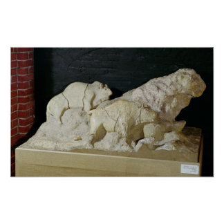 Copy of sculpture of bisons, Le Poster
