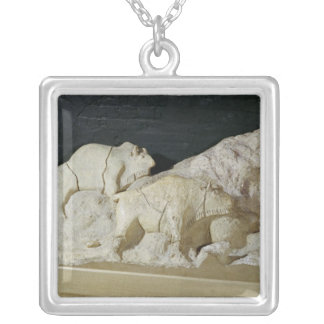 Copy of sculpture of bisons, Le Silver Plated Necklace