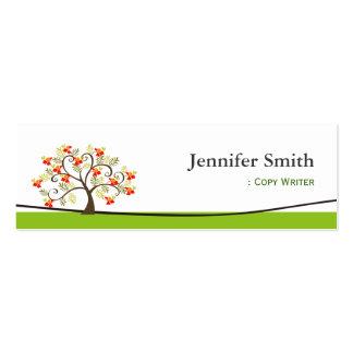 Copy Writer - Swirl Whimsical Tree Icon Mini Business Card