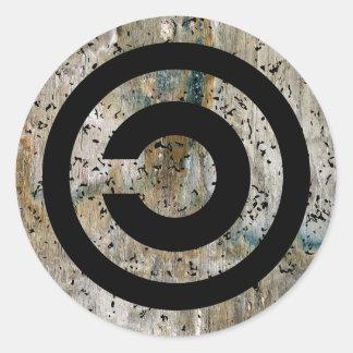 Copyleft grunge classic round sticker