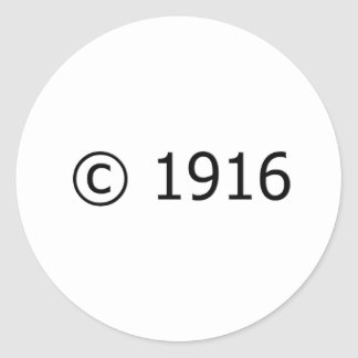 Copyright 1916 pegatina redonda