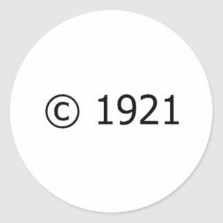 Copyright 1921 pegatina redonda