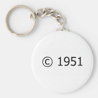 Copyright 1951 basic round button keychain