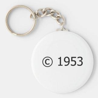 Copyright 1953 basic round button keychain