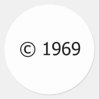 Copyright 1969 pegatina redonda