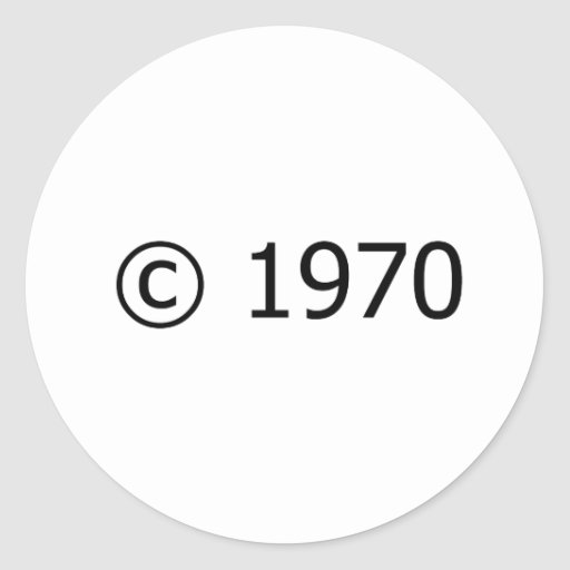 Copyright 1970 round stickers