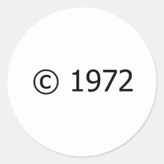 Copyright 1972 pegatina redonda