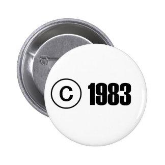 Copyright 1983 pin redondo 5 cm