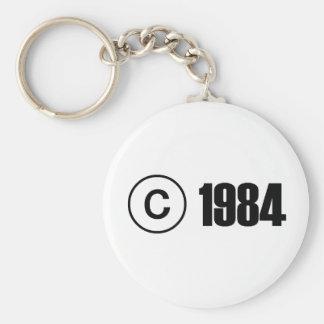 Copyright 1984 basic round button keychain