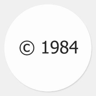 Copyright 1984 pegatina redonda
