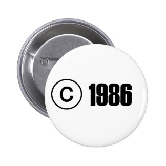 Copyright 1986 pin redondo 5 cm