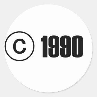 Copyright 1990 pegatina redonda